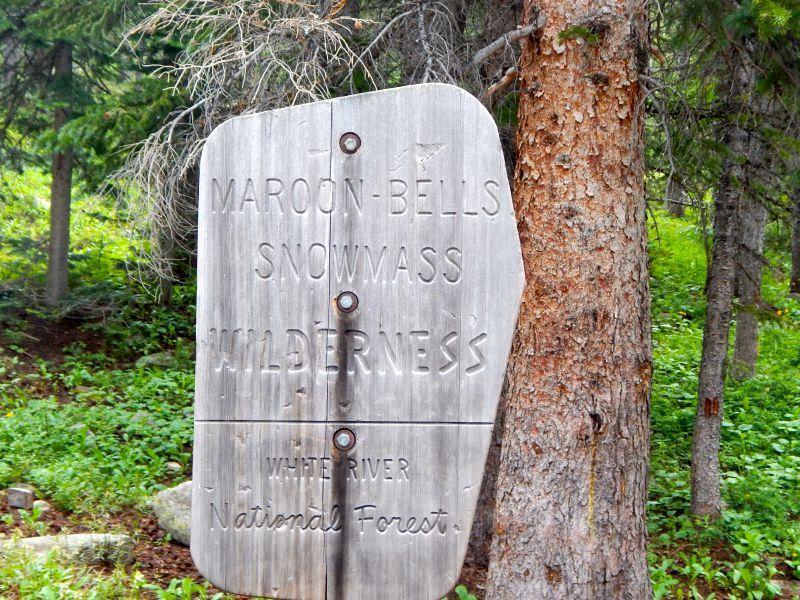 Maroon Bells Trail Sign Aspen CO
