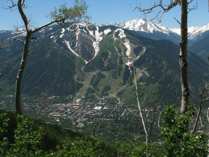 Sunnyside Trail Looking Down to Aspen CO