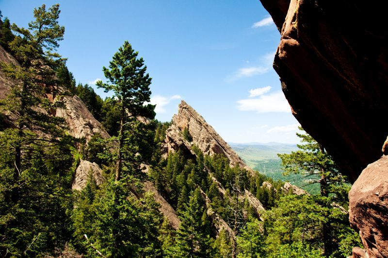 View of Flatirons from Royal Arch Trail Boulder CO